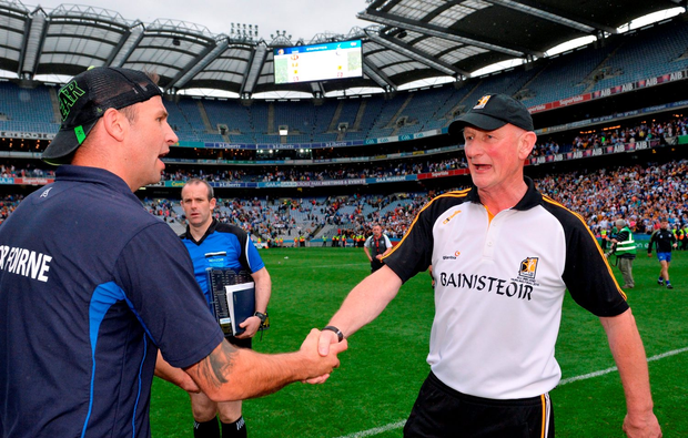 Waterford selector Dan Shanahan with Kilkenny manager Brian Cody