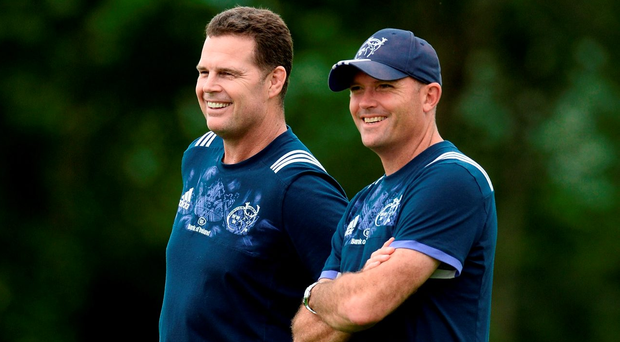 Rassie Erasmus, left, with his defence coach Jacques Nienaber. Photo by Diarmuid Greene/Sportsfile