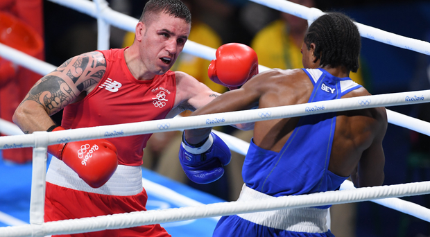 David Oliver Joyce of Ireland, left, in action against Andrique Allisop of Seychelles during their Lightweight preliminary round of 32 bout in the Riocentro Pavillion 6 Arena,/Sportsfile