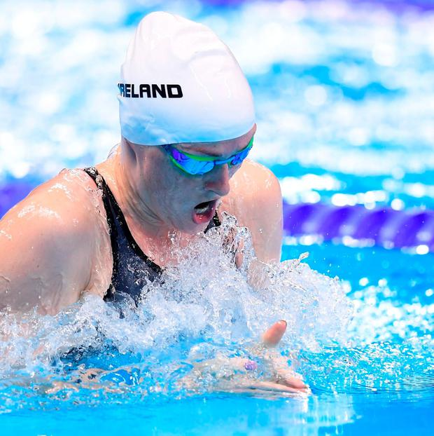 Fiona Doyle finished last in her 100m breaststroke heat. Photo by Stephen McCarthy/Sportsfile
