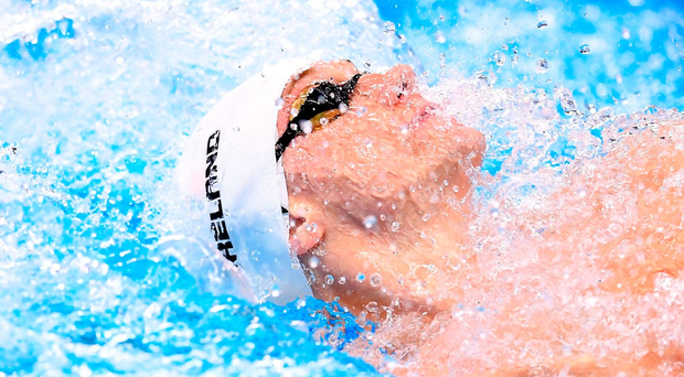 Shane Ryan on his way to a national record in the 100m backstroke. Photo by Stephen McCarthy/Sportsfile