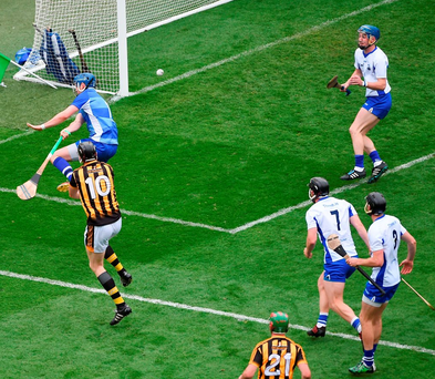 Kilkenny's Walter Walsh clips the ball past Waterford goalkeeper Stephen O'Keeffe's for the game's only goal. Photo by Daire Brennan/Sportsfile