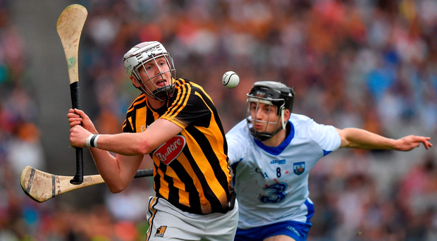 Jamie Barron of Waterford attempts a hook on Kilkenny's Lester Ryan. Photo by Ray McManus/Sportsfile