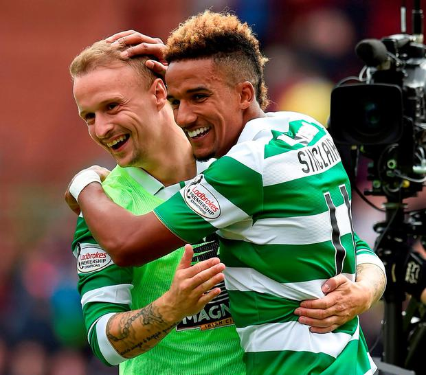 Leigh Griffiths (l) and Scott Sinclair after their league opener Photo:Ian Rutherford/PA