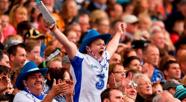 Trevor O'Grady (14), from Waterford city, reacts to a score for his side during the semi-final in Croke Park yesterday. Photo by Ray McManus/Sportsfile