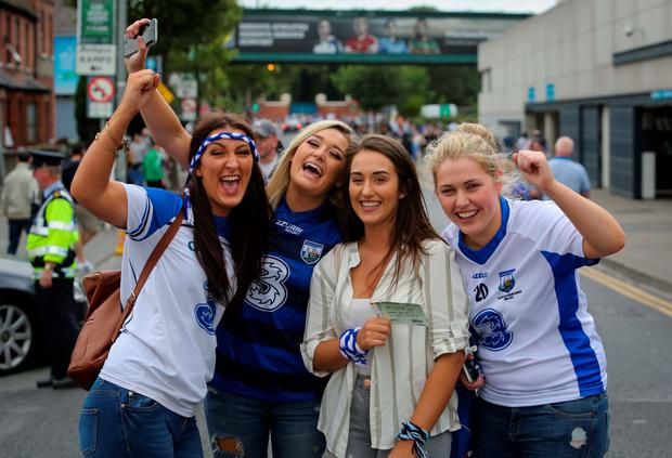 Jenna Norris, Aoife Brett, Tara Fenelly and Valerie O'Brien, all from Roanmore, at the match. Photo: Gareth Chaney Collins