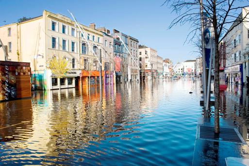 Cork's Grand Parade was hit particularly badly by floods. Pic Daragh Mc Sweeney / Provision