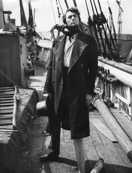 Gregory Peck, as Captain Ahab during the shooting of 'Moby Dick', on location at Youghal, County Cork, Ireland. (Photo by Hulton Archive/Getty Images)