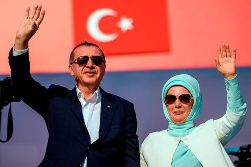 President Tayyip Erdogan with his wife Emine. Photo: Reuters/Getty