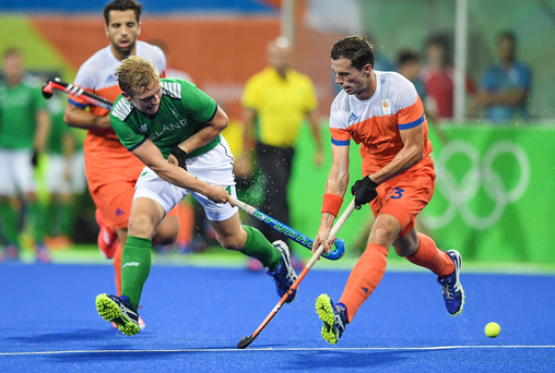 Michael Watt of Ireland in action against Sander Baart of Netherlands during their Pool B match at the Olympic Hockey Centre, Deodoro, during the 2016 Rio Summer Olympic Games in Rio de Janeiro, Brazil. Picture by Brendan Moran/Sportsfile