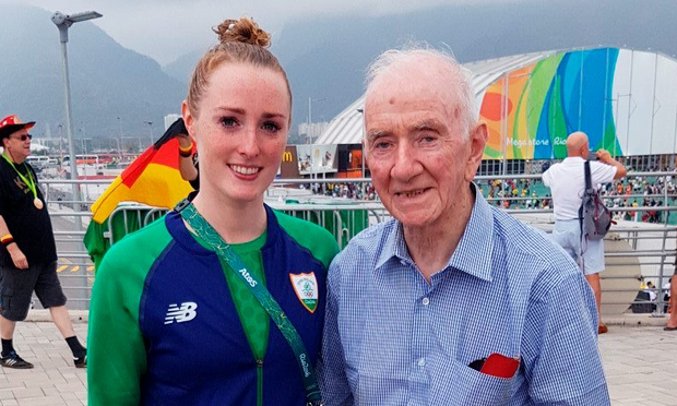 Swimmer Fiona Doyle with her grandfather, Michael Picture: Laurie Mannix