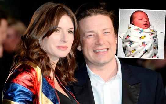 Jamie and Jools Oliver and inset, their newborn son