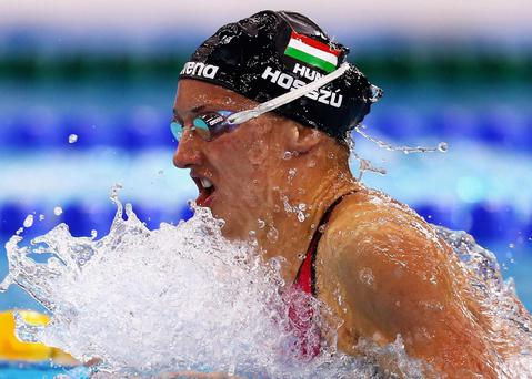 Kantinka Hosszu of Hungary competing in the Women's 100m Individual Medley final Getty
