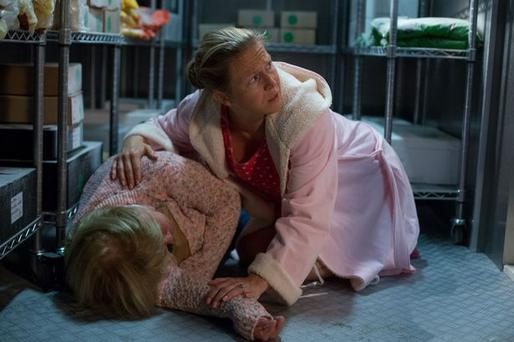 Linda discovers an unconscious Babe. Photo: EastEnders / BBC
