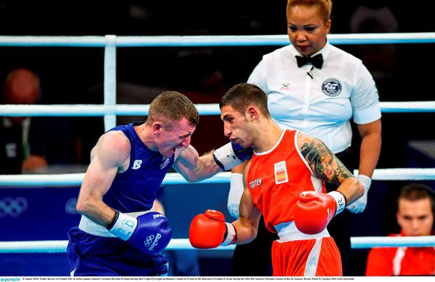 8 August 2016; Paddy Barnes of Ireland, left, in action against Samuel Carmona Heredia of Spain during their Light-Flyweight preliminary round of 32 bout in the Riocentro Pavillion 6 Arena during the 2016 Rio Summer Olympic Games in Rio de Janeiro, Brazil. Photo by Stephen McCarthy/Sportsfile