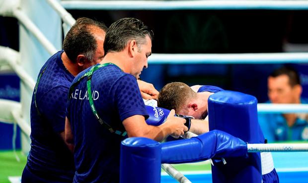 Paddy Barnes of Ireland after being defeated by Samuel Carmona Heredia