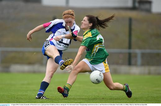 6 August 2016; Grainne Kenneally of Waterford scores a goal past Kate O'Sullivan of Kerry during the TG4 All-Ireland Senior Championship match between Kerry and Waterford at St Brendan's Park in Birr, Co Offaly. Photo by Matt Browne/Sportsfile