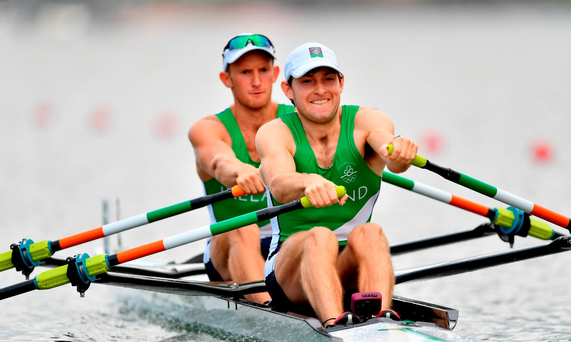 Gary O'Donovan, left, and Paul O'Donovan of Ireland in action during the Men's Lightweight Double Sculls heats in Lagoa Stadium