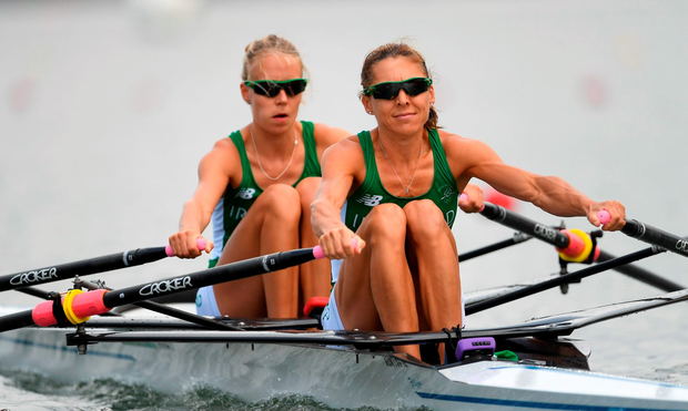 Claire Lamb, left, and Sinead Lynch of Ireland in action during the Women's Lightweight Double Sculls heats