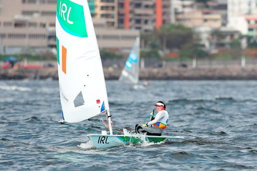 Ireland's Annalise Murphy on her way to the line during the Women's Laser Radial Race