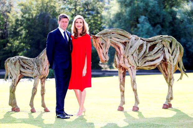 Launch of the 2016 Longines Irish Champions Weekend. Pictured (LtoR) Ronan O'Gara and his wife Jessica. Photo: Photocall Ireland