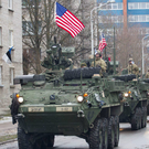 A Nato military parade in Narva, on the Estonia-Russia border