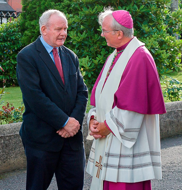 Northern Ireland Deputy First Minister Martin McGuinness with Bishop of Derry Donal McKeown outside St Eugene's Cathedral yesterday Photo: LiamMcArdle.com