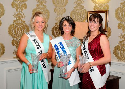 International Miss Macra winner Sineady Guiney with runners-up Josephine O'Dwyer, representing south county Tipperary, and Aileen Sheehan, representing Muskerry Macra Club, Co Cork, in third