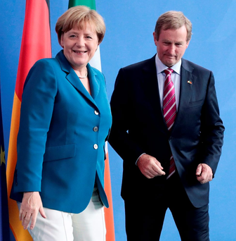 German Chancellor Angela Merkel and Taoiseach Enda Kenny at a joint press conference last month Photo: AP/Markus Schreiber