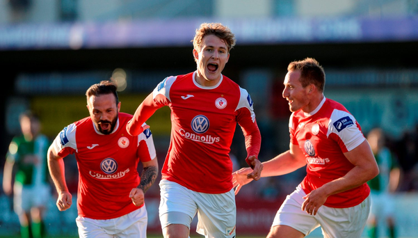 Kieran Sadlier, centre, of Sligo Rovers celebrates with team-mates Raffael Cretaro, left, and Achille Campion