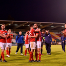 St Patrick's Athletic players celebrate at the end of the EA Sports Cup semi final match between Shamrock Rovers and St Patrick's Athletic at Tallaght Stadium