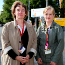 Staff nurses Jo Tully and Cliona Byrne at the entrance to St James's Hospital Photo: Gerry Mooney