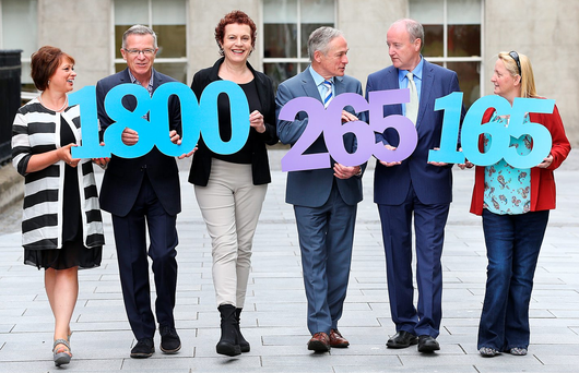 At the launch of the NPCpp Helpline 2016 were (from left): Betty McLaughlin, president of the Institute of Guidance Counsellors; Philip McGauran, sponsorship manager, Eir; Katherine Donnelly, Education Editor, Irish Independent; Richard Bruton, Minister for Education; Paul Mooney, president of the NPCpp; and Lynda O'Shea, NPCpp Photo: Steve Humphreys