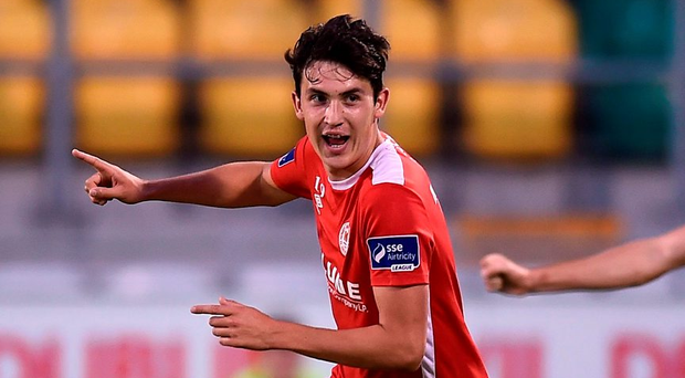 St Patrick Athletic's Jamie McGrath celebrates after scoring his side's second goal in the EA Sports Cup semi final. Photo: David Maher/Sportsfile