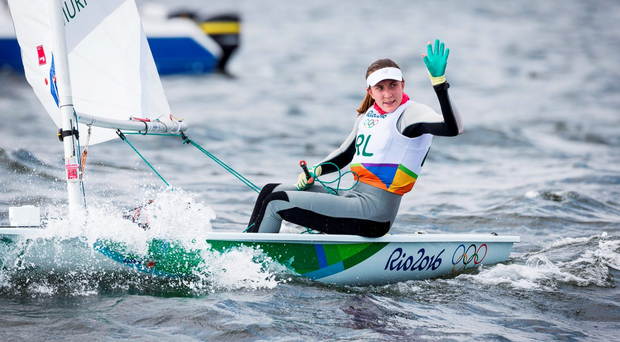 Annalise Murphy after winning Race 1 of the Laser Radial. Photo by David Branigan/Sportsfile