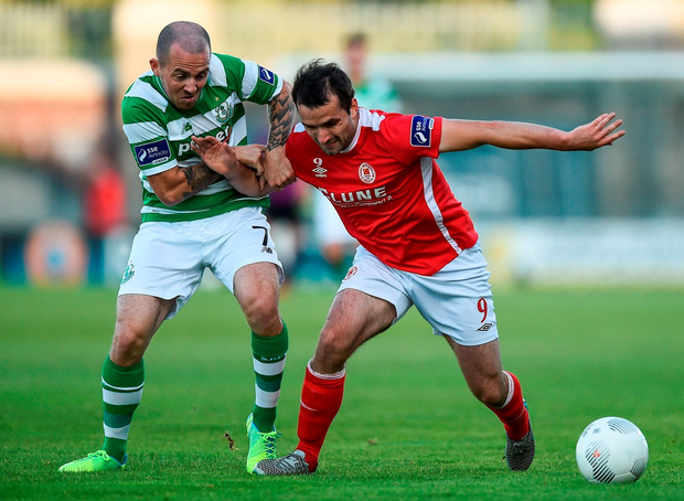 St Patrick's Athletic's Christy Fagan in action against Shamrock Rovers' Gary McCabe. Photo: David Maher/Sportsfile