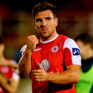 Sligo Rovers' Gavin Peers celebrates following his team's victory. Photo: Seb Daly/Sportsfile