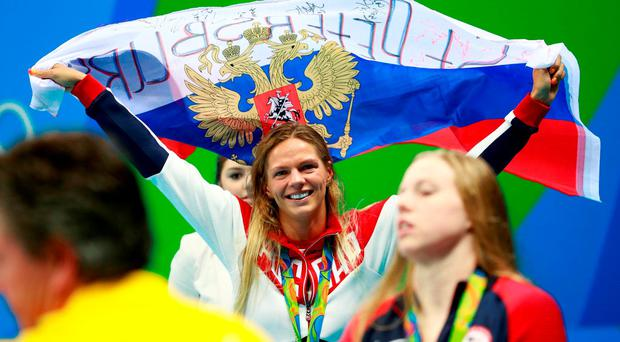 Silver medalist Yulia Efimova of Russia poses during the medal ceremony for the Women's 100m Breaststroke Final