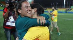 Marjorie Enya ensured a memorable end to the inaugural rugby sevens' contest with her proposal CREDIT: GETTY IMAGES