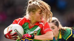 23 April 2016; Sarah Rowe, Mayo, in action against Kerry. Lidl Ladies Football National League, Division 1, semi-final, Mayo v Kerry. St Brendan's Park, Birr, Co. Offaly. Picture credit: Ramsey Cardy / SPORTSFILE