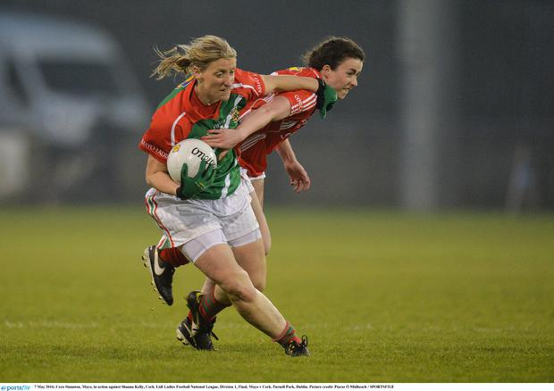 7 May 2016; Cora Staunton, Mayo, in action against Shauna Kelly, Cork. Lidl Ladies Football National League, Division 1, Final, Mayo v Cork. Parnell Park, Dublin. Picture credit: Piaras Ó Mídheach / SPORTSFILE