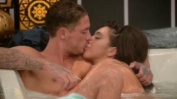 Stephen Bear and Chloe Khan in the Celebrity Big Brother house. Photo: Channel 5