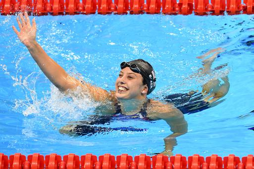 Kathleen Baker of the United States celebrates winning silver at the Rio 2016 Olympic Games. The swimmer recently opened up about her battle with Crohn's disease
