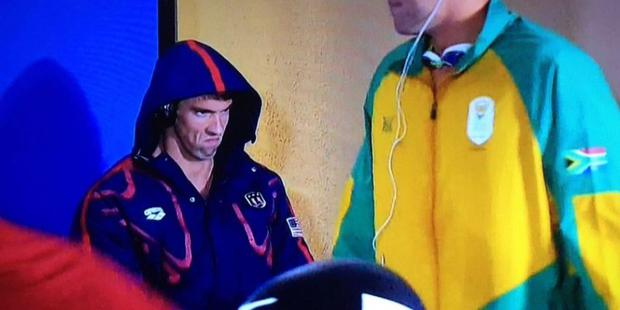 Michael Phelps' game face. Photo: NBC / Twitter
