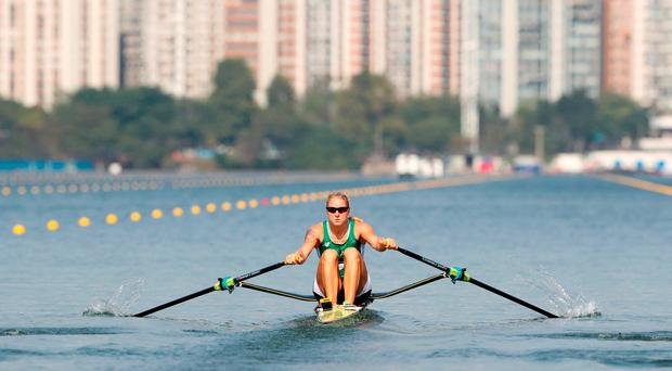 Ireland's Sanita Puspure competes in the Women's Single Sculls Quarterfinals at the Lagoa Stadium on the fourth day of the Rio Olympics