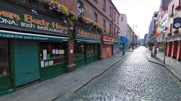 The incident took place outside Gallagher's Boxty House on Temple Bar. Picture: Google Maps