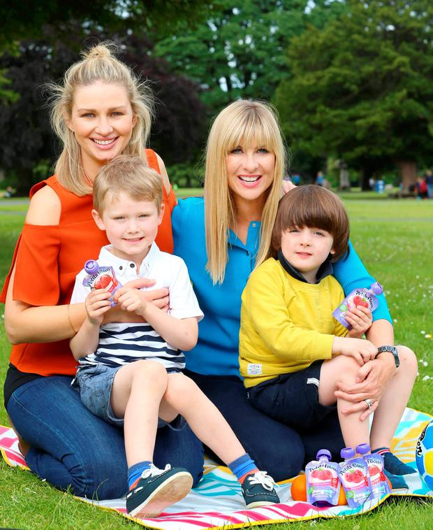 Laura Woods and Anna Daly and their sons Ben and James at the launch of Yoplait's new Petits Filous Pouches. Picture: Marc O'Sullivan