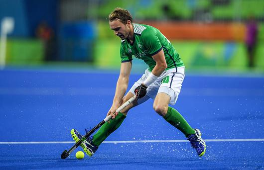 Rio , Brazil - 7 August 2016; Mitch Darling of Ireland during their Pool B match against the Netherlands at the Olympic Hockey Centre, Deodoro, during the 2016 Rio Summer Olympic Games in Rio de Janeiro, Brazil. (Photo By Brendan Moran/Sportsfile via Getty Images)