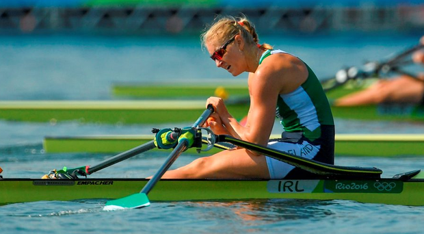 Sanita Puspure of Ireland following her fourth place finish. Photo: Sportsfile