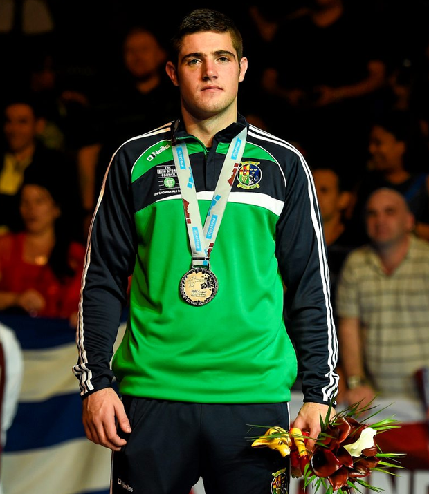 Joe Ward on the podium with his Men's Light Heavyweight 81kg silver medal at the AIBA World Boxing Championships in Doha last October Photo: Sportsfile